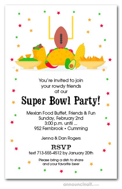 Football & Taco Bar Super Bowl Party Invitations