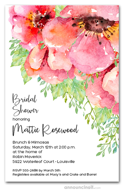 Fresh Pink Flowers Bridal Shower Invitations