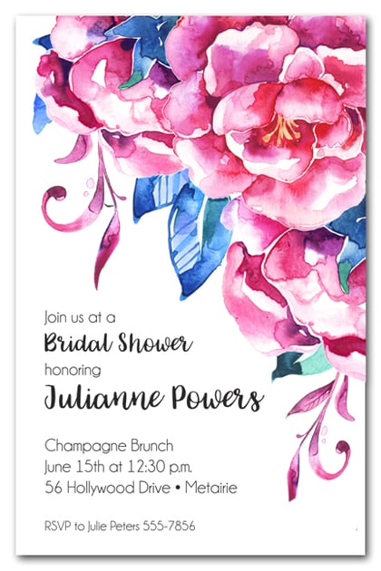 Full Hot Pink Blossoms Bridal Shower Invites