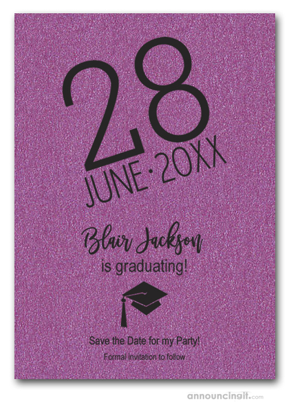 Shimmery Purple Modern Graduation Save the Date Cards