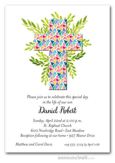 Glass Triangles Cross First Communion Invitations