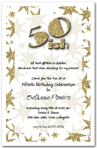 Gold Glitter Birthday Party Invitations 50th