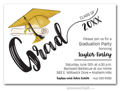Gold & Black Tassel on Gold Cap Graduation Invites
