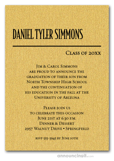 Shimmery Gold Classic Graduation Invitations