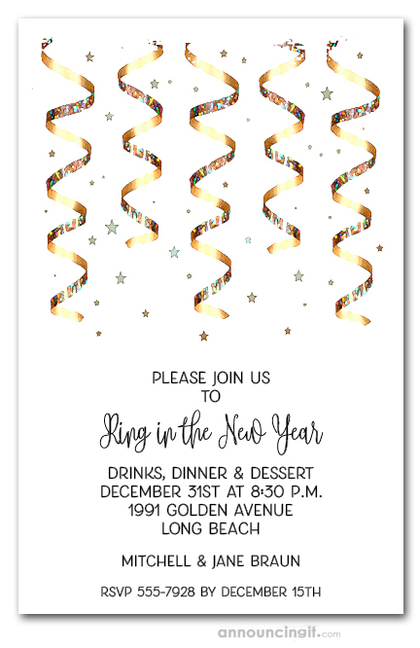 Gold Streamers Party Invitations