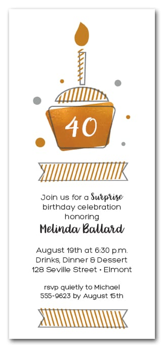 Golden cupcake birthday party invitations surprise party invitations golden cupcake filmwisefo