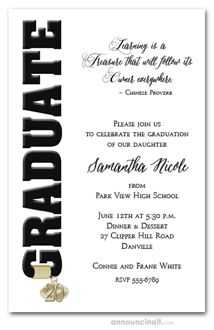 Tassel Charm & Black Graduation Invitations
