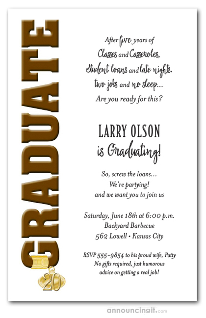 Tassel Charm & Brown Graduation Invitations