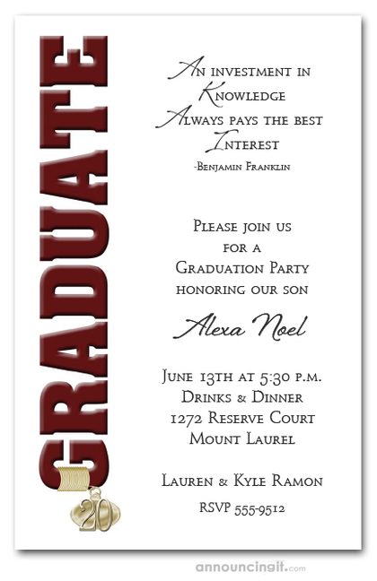 Tassel Charm and Burgundy Graduation Invitations