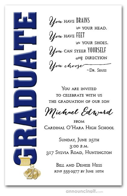 Tassel Charm and Navy Graduation Invites