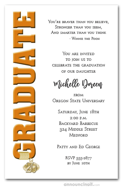 Tassel Charm and Orange Graduation Invites