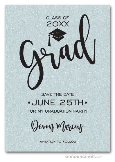 Simple Grad Shimmery Aqua Save the Date Cards