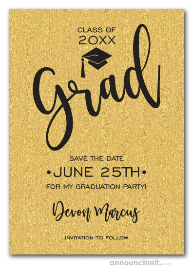 Simple Grad Shimmery Gold Save the Date Cards