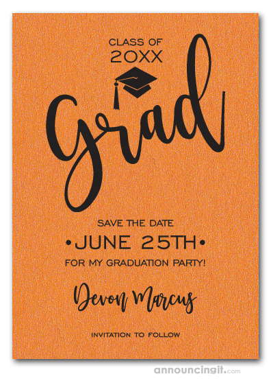 Simple Grad Shimmery Orange Save the Date Cards