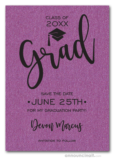 Simple Grad Shimmery Purple Save the Date Cards