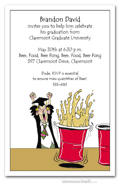 Beer Pong Grad Party Invitations