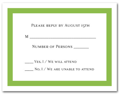 Green Border RSVP Cards #5