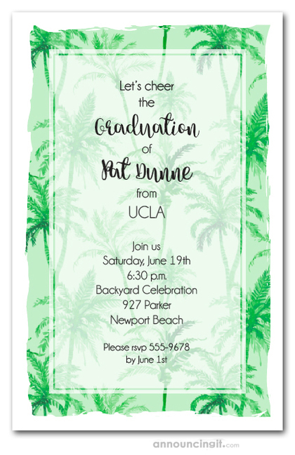 Green Palm Trees Graduation Party Invitations