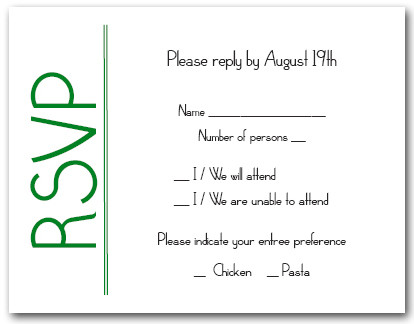 Green on White RSVP Cards #6