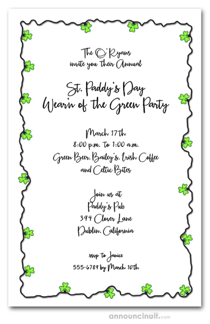 Shamrocks String of Lights Party Invitations