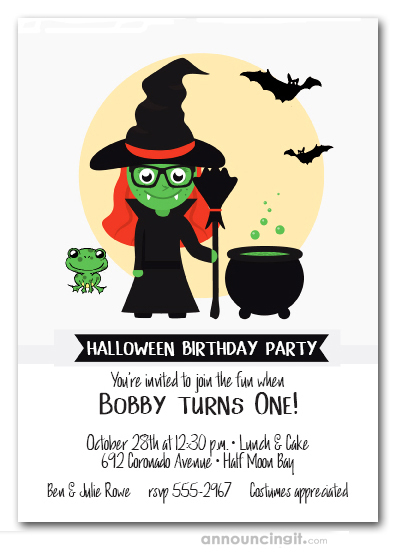Witch Frog Bats Halloween Invitations