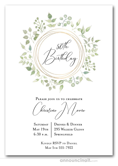 Pale Greenery Wreath Birthday Invitations