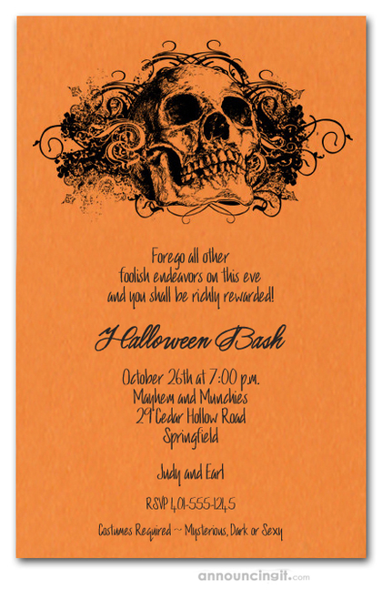 Grunge Skull on Orange Halloween Invites