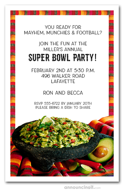 Fiesta Guacamole Super Bowl Invitations