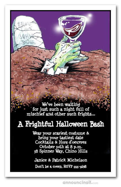 Graveyard Hand Halloween Invitations