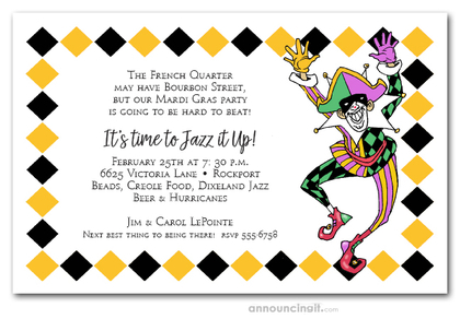 Harlequin Mardi Gras Party Invitations