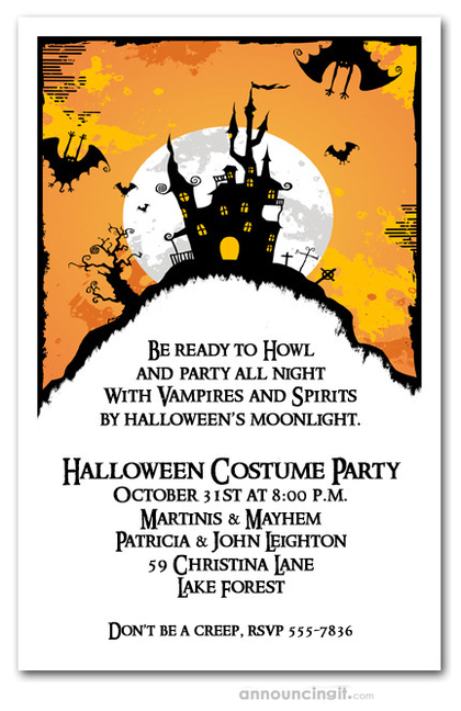 Haunted House on Hill Halloween Invites