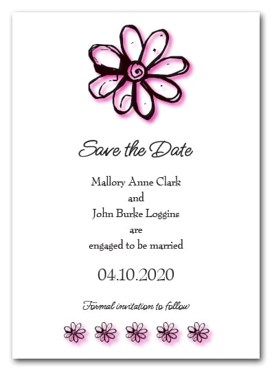 Hot Pink Daisy Save the Date