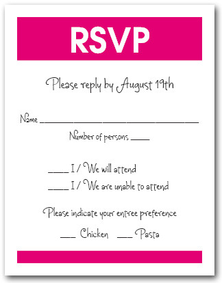 White & Hot Pink RSVP Card #3