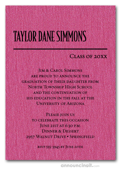 Shimmery Hot Pink Classic Graduation Invites