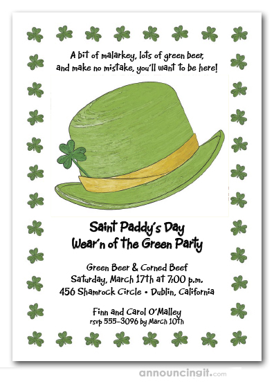 Derby Hat and Clovers St. Patrick's Day Invites