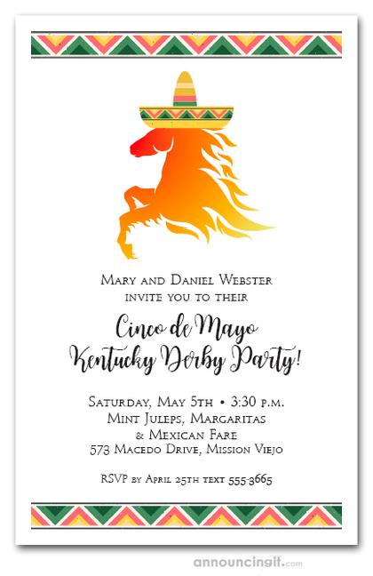 Kentucky Derby de Mayo Horse wearing Sombrero Party ...