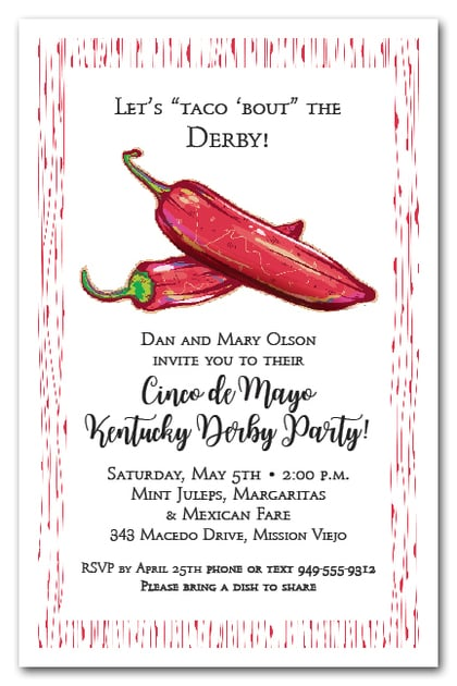 Derby Cinco de Mayo Red Hot Peppers Invitations