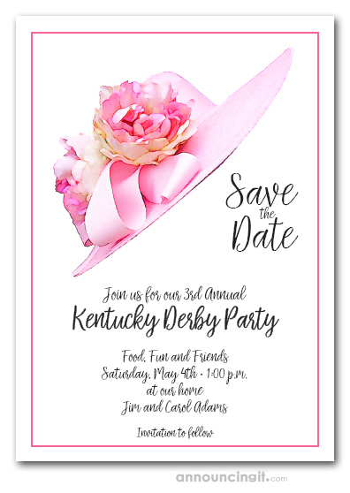 Pink Floral Hat Kentucky Derby Save the Date Cards
