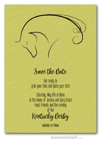 Save the Date Cards Horse on Shimmery Lime Invites