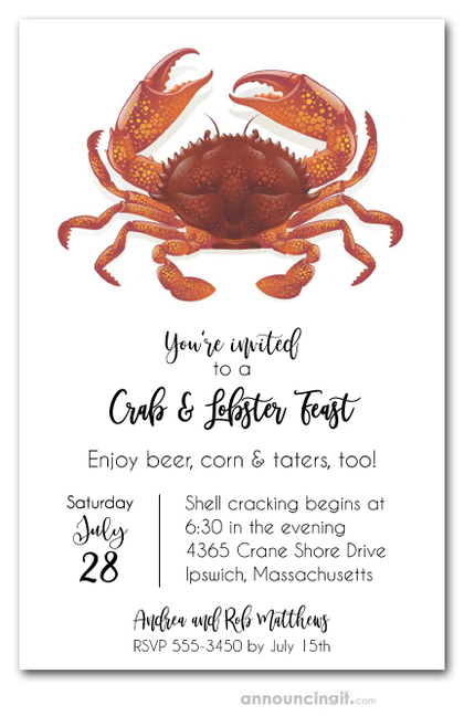 Large Red Crab Seafood Party Invitations