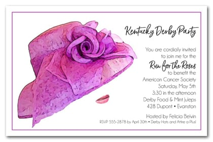 Floral Lavender Derby Hat Party Invitations