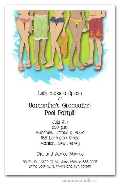 Legs Swimming Graduation Party Invitations