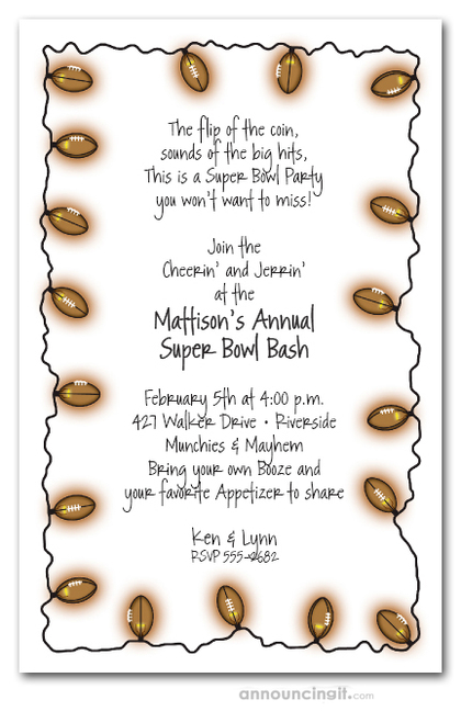 Light String of Football & Beer Invitations