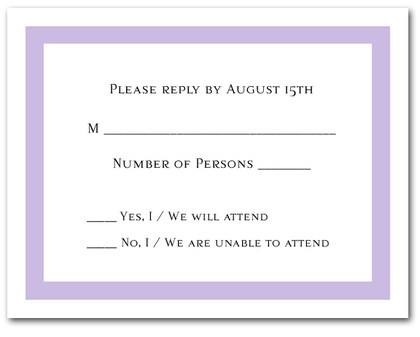 Lilac RSVP Cards #5