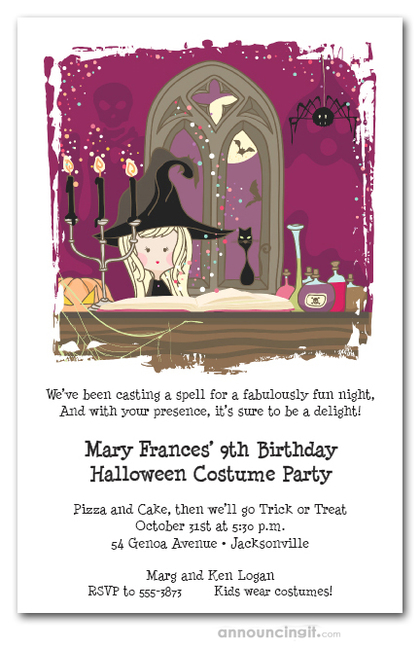 Witch's Book of Shadows Halloween Invitations