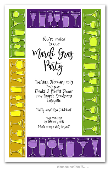 Mardi Gras Drink Blocks Party Invitations
