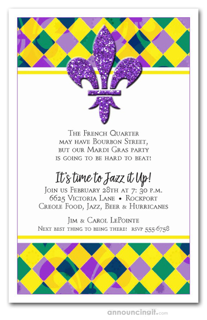 Harlequin Fluer de Lis Mardi Gras Party Invitations