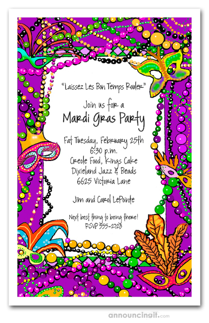 Mardi Gras Fun Party Invitations