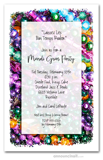 Mardi Gras Beads Pile Party Invitations