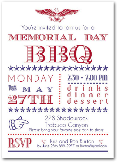 Memorial Day Patriotic Bbq Party Invitations